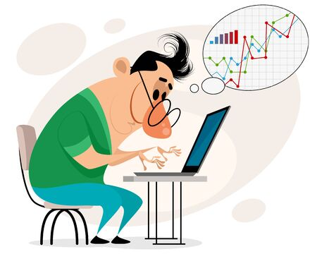 Vector illustration of a man working at a computer