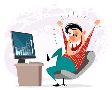 Vector illustration of a man enjoying success Ilustracja