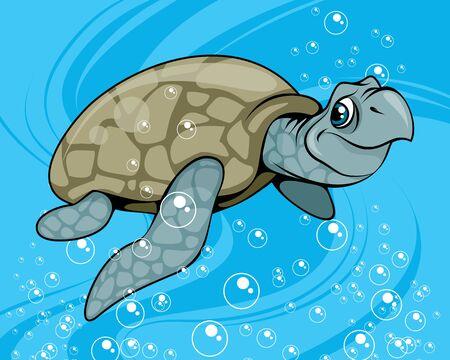Vector illustration of a cartoon waterfowl turtle