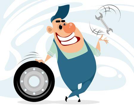 Vector illustration of a cheerful auto mechanic