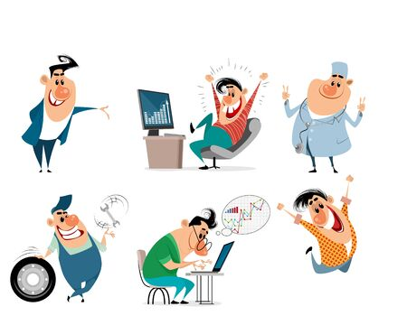 Vector illustration of a set of funny caricatures Ilustrace