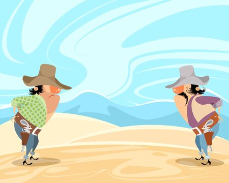Vector illustration of the confrontation of cowboys