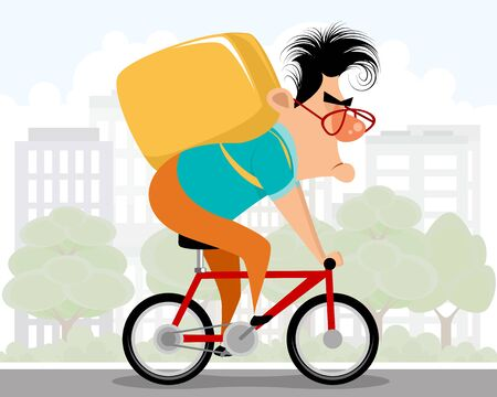 Vector illustration of a courier on a bicycle