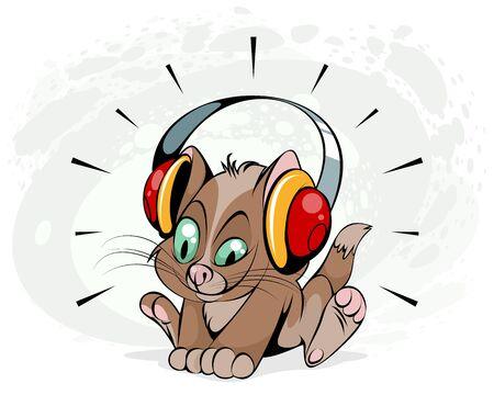 Vector illustration of a kitten with headphones