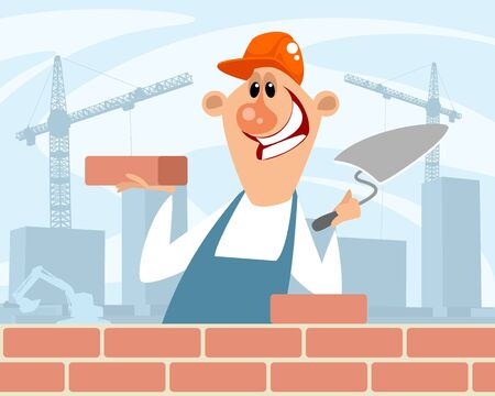 Vector illustration of a bricklayer at a construction site