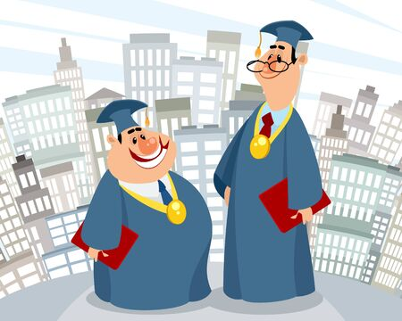 Vector illustration of magisters on the city background Ilustracja