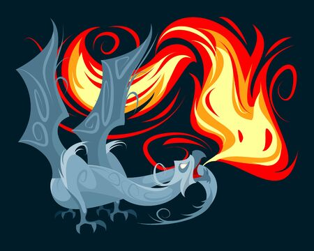 Vector illustration of a dragon spewing fire Ilustracja