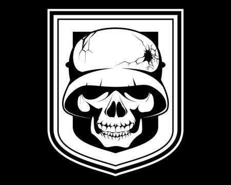 Vector illustration of a skeleton in a helmet Illustration