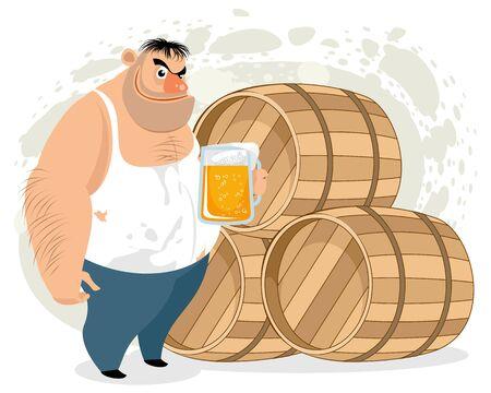 Vector illustration of a man drinking beer