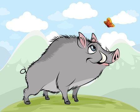 Vector illustration of a boar admiring a butterfly