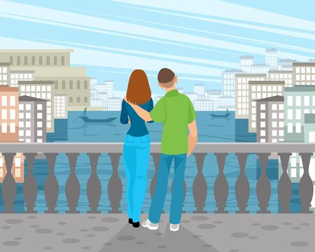 Vector illustration of a couple in love in Venice