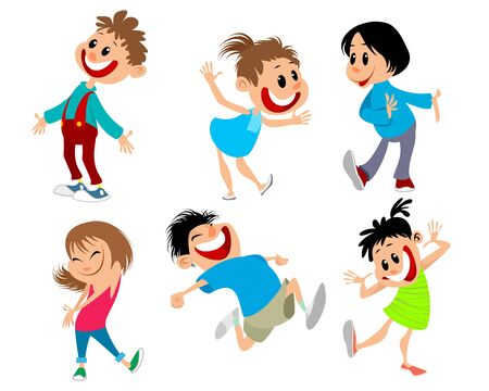 Vector illustration of a set of six fun children