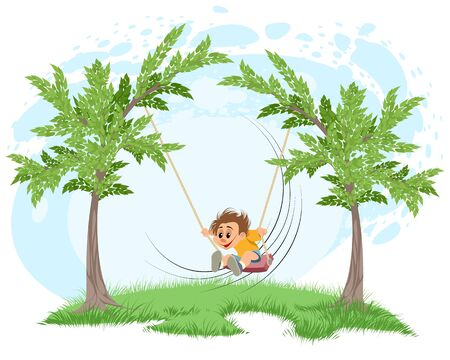 Vector illustration of a boy on a swing