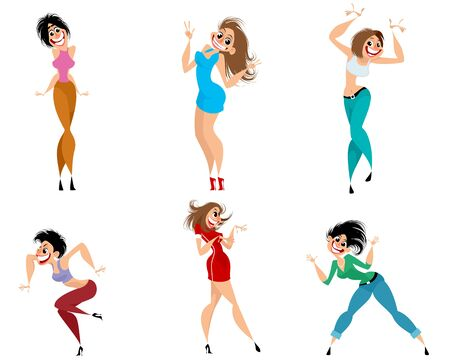 Vector illustration of a set of expressive women Ilustrace