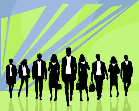 Vector illustration of a group of silhouettes of business people