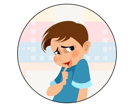 Vector illustration of a very shy boy Illustration