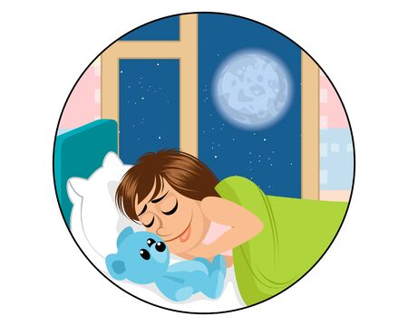 Vector illustration of a sleeping child with a toy