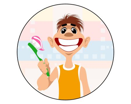 Vector illustration of a boy brushing his teeth