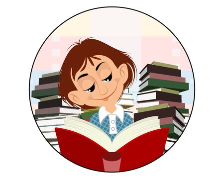 Vector illustration of a child reading a book