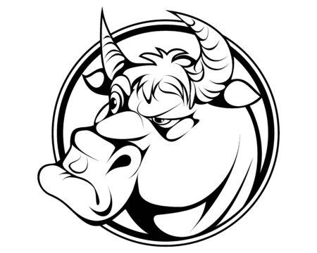 Vector illustration of a cartoon bull portrait