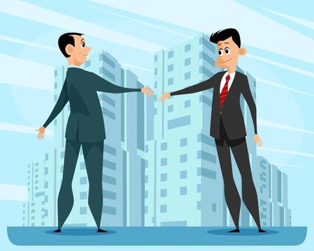 Vector illustration of a greeting handshake of business men