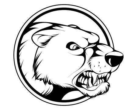 Vector illustration of an angry bear's head