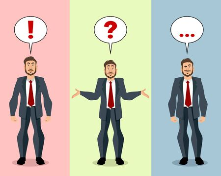 Vector illustration of a businessman in different situations