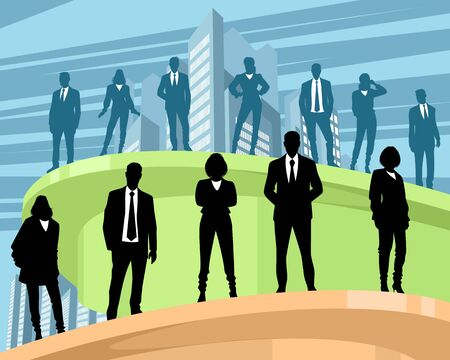 Vector illustration of business people at different levels