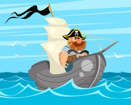 Vector illustration of a bearded pirate on a ship