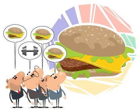 Vector illustration of choosing between hamburger and barbell