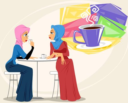 Vector illustration of Muslim women in a coffee shop Ilustrace