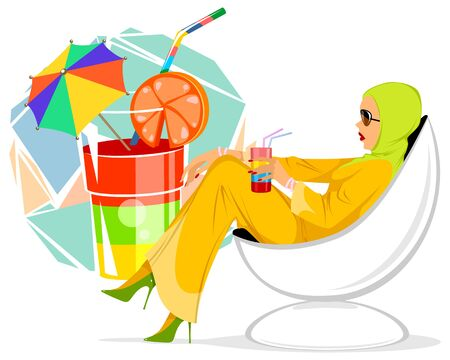 Vector illustration of an elegant woman with a cocktail Ilustrace
