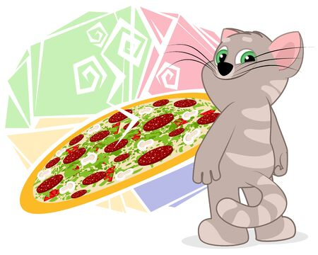 Vector illustration of a cat near a picture with pizza