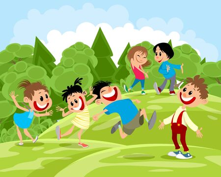 Vector illustration of happy children on a walk Ilustrace