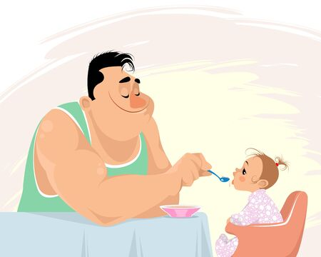 Vector illustration of a father feeding his daughter