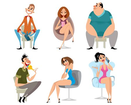 Vector illustration of a set of sitting people Ilustrace