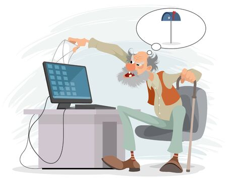 Vector illustration of an elderly man at a computer