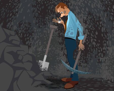 Vector illustration of a seeker in a cave