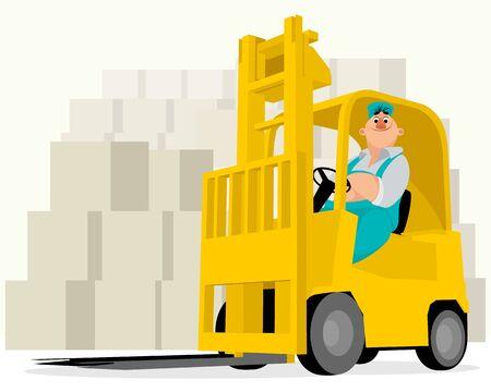 Vector illustration of a worker on a loader Illustration