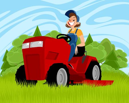 Vector illustration of a woman on a tractor