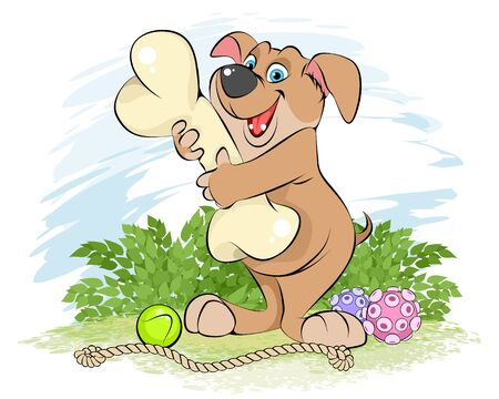 Vector illustration of a cartoon dog with a bone Ilustrace