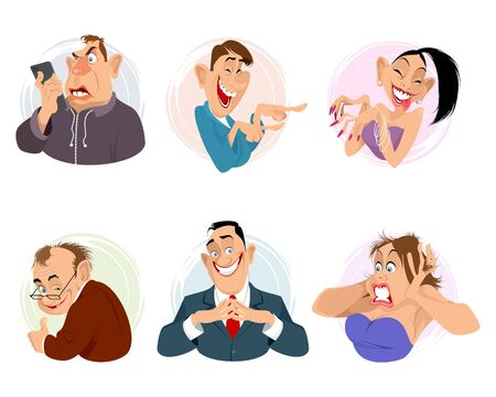 Vector illustration of six portraits of people