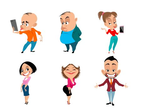 Vector illustration of a set of six funny people Ilustrace