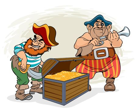Vector illustration of pirates and a chest of gold Ilustrace