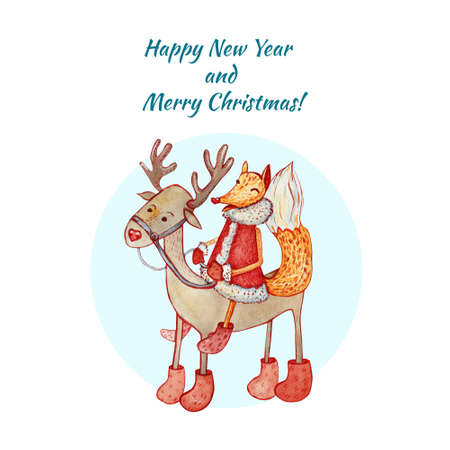 Christmas and New Year card with a sly fox riding a deer. Watercolor illustration on white background. Christmas character.