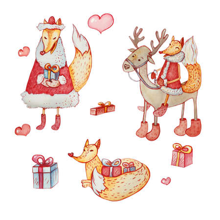Set of three sly foxes and one reindeer with gift boxes and hearts. Hand-drawn watercolor. 版權商用圖片
