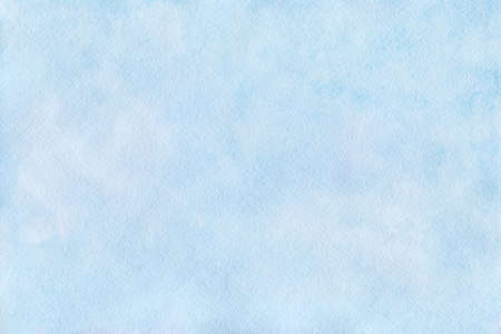 Gentle blue watercolor background in pastel colors. Sky blue background with paper texture. The sky with clouds. Illustration drawn by hand.
