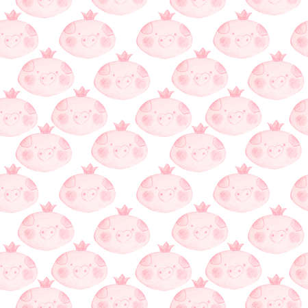 Cute seamless pattern with funny piglets princesses. Background with pink faces of piglets girls with a blush on the cheeks and a crown on the head.