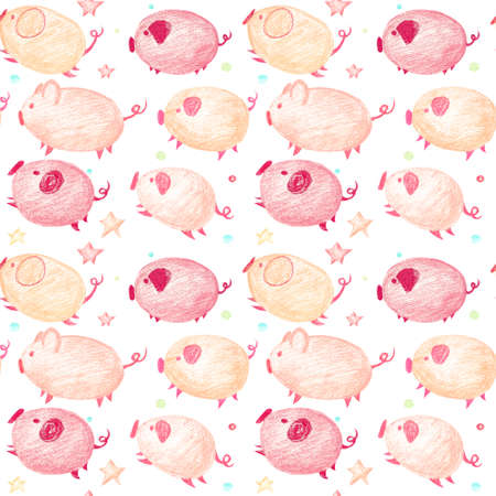 Funny seamless pattern with jumping piglets. Childrens gentle pastel background with pink and orange piglets, candy and asterisks.