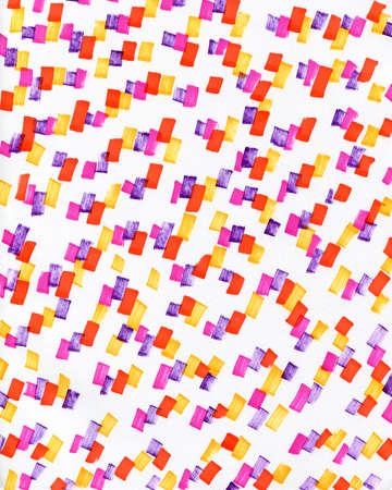 Abstract background with multicolored neon spots. Stylish youth bright background with yellow, orange, red, pink, purple markers prints on a white background. Фото со стока